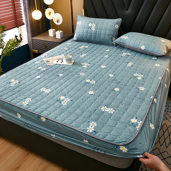 100 bawełniany materac pokrywa tkanina pikowana nakładka na materac zagęścić król podkład na materac do łóżka anty-roztocza Twin narzuta na materac na łóżko tanie i dobre opinie CN (pochodzenie) 100 bawełna 400tc PRZĘDZA BARWIONA Stałe żakaradowy wykonane techniką sanding