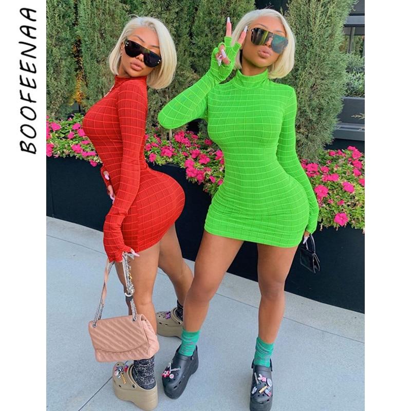 BOOFEENAA Plaid Gloves Turtleneck Long Sleeve Bodycon Dress Women Fashion Fall Clothes Sexy Night Club Party Dresses C70-AZ93