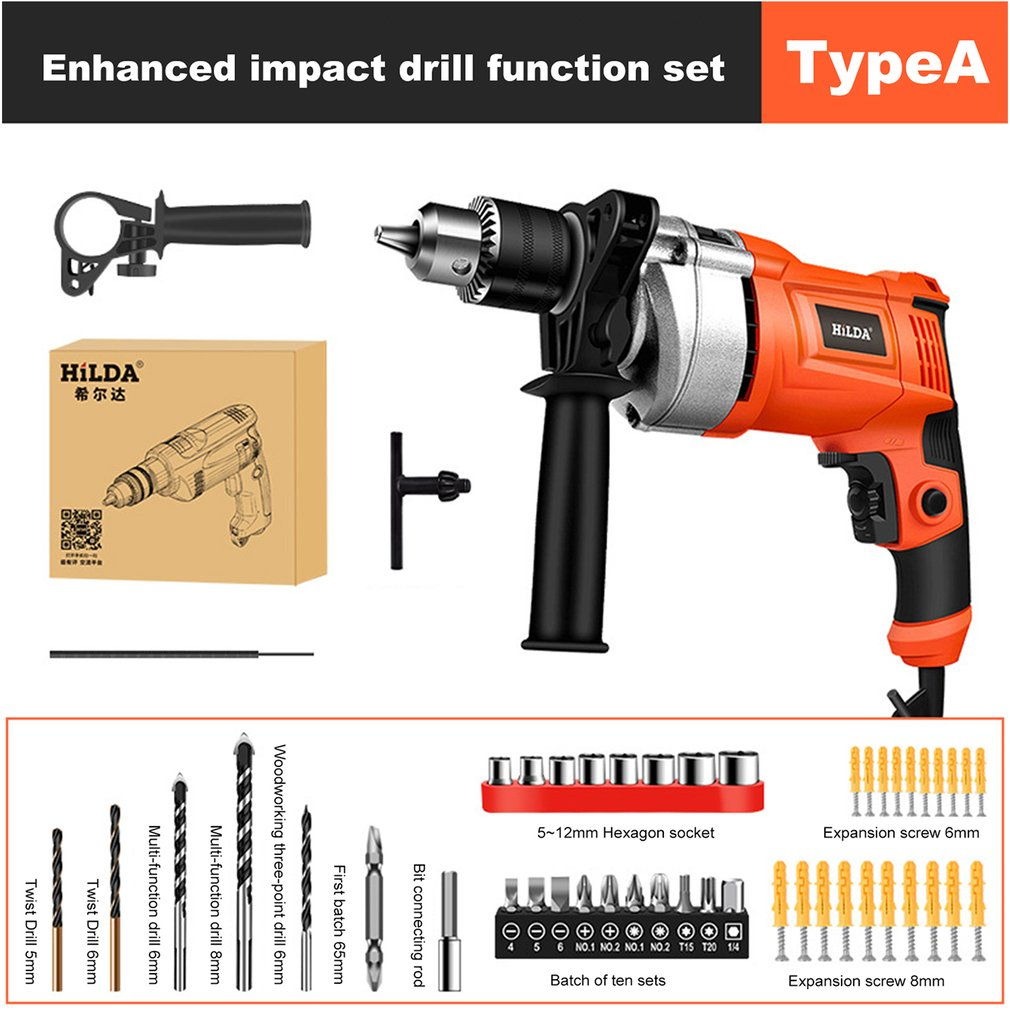 Electric Hammer Power Tool Multi-function Impact Drill 780W Electric Drill Three-use Rotary Tool With Conversion Head EU