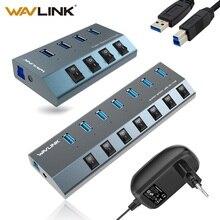 Wavlink Aluminium USB HUB 3,0 mit netzteil Auf/Off Schalter High Speed 4 /7 Ports USB 3,0 HUB EU/US/UK stecker für MacBook Laptop