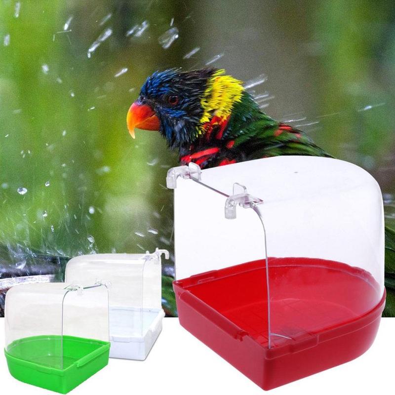 Bird Bath Bathtub Bath Box Bird Cleaning Tool Cage Tub Hanging Parrot Bath Shower Transparent Accessories Color Random Plas Y9D2