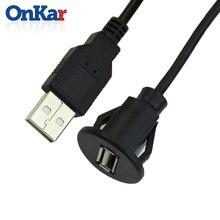 ONKAR Car Accessories USB 2.0 Male to Female Car Flush Mount Extension Cable Car Van Dashboard Flush Mount Dual USB Socket