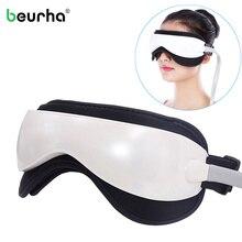 Elétrica dc vibração olho massageador máquina música magnética pressão de ar infravermelho aquecimento massagem óculos dispositivo cuidados com os olhos