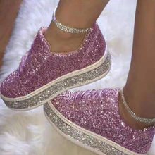 Women Flat Glitter Sneakers Casual Female Mesh Lace Up Bling Platform Comfortable Plus Size Vulcanized Shoes 2020 Soft Knitting(China)