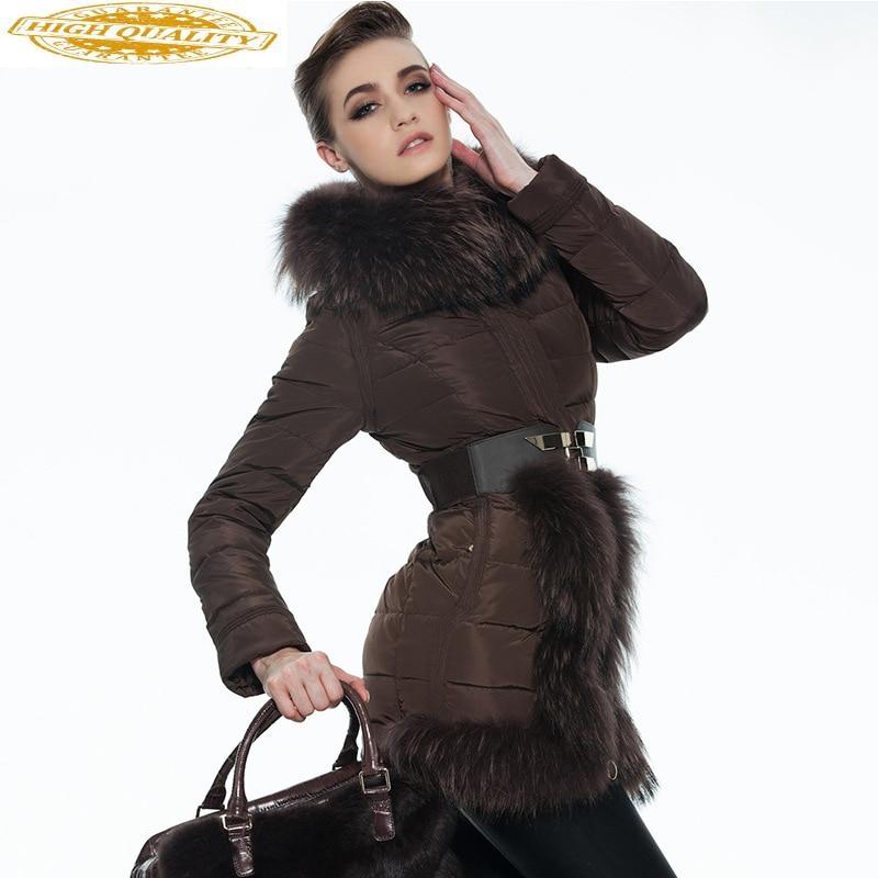 2020 Winter Duck Down Jacket Woman Hooded Large Fur Collar Korean Down Coat Detachable Sleeve Women's Jackets 1035 KJ2758