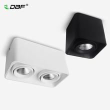 DBF luz descendente de LED regulable COB cuadrada, 10W, 12W, 20W, 24W, foco de lámparas de techo LED montado en superficie, AC85V 265V LED