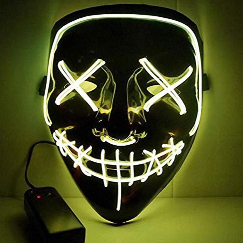 1 шт. светящаяся маска светодиодный светящийся Вечерние Маски для разминки год для выбора Большие Смешные Маски фестиваль Косплей Костюмные принадлежности Светящиеся в темноте - Цвет: H03