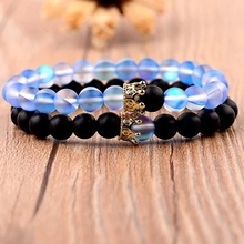 Momiji 2pcs/set 10 Styles Couples Crown Bracelet Natural Stone Beaded Bracelet for Men Women Friend Gift Charm Strand Jewelry