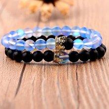 Момиджи 2 шт./компл. 10 видов стилей пары Корона браслет натуральный камень браслет из бисера для мужчин и женщин, подарок подруге, браслеты с ...