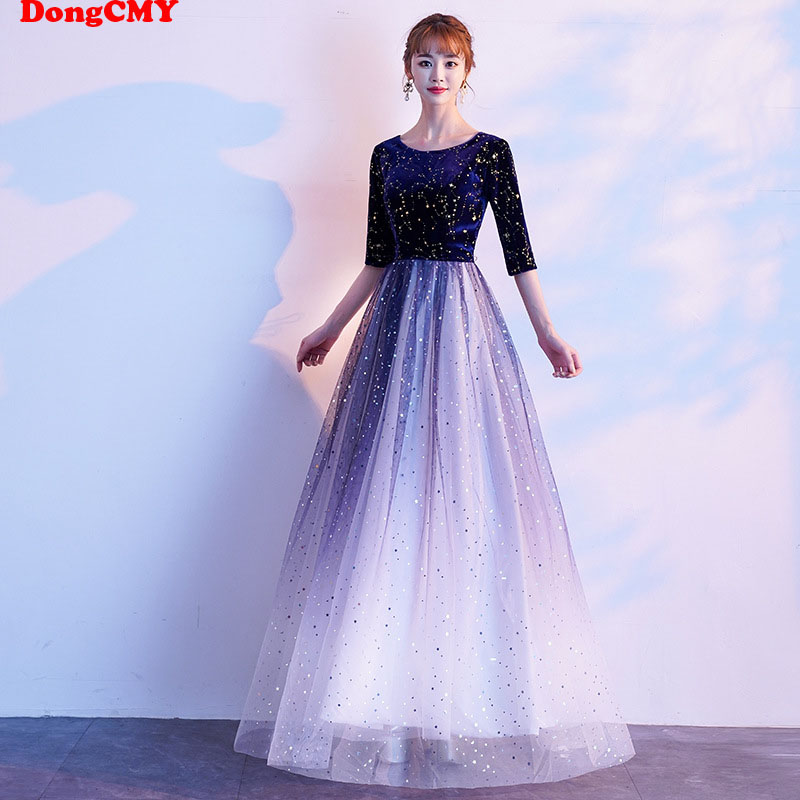DongCMY New Long Formal Dresses Navy Plus Size Vestidos Robe De Soiree Appliques Elegant Dress
