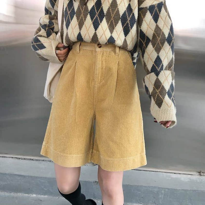 Streetwear Corduroy Shorts Women Autumn Winter Korean High Waist Wide Leg Shorts Ladies Plus Size Elegant Loose Short Femme