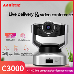 Aoni C3000 Webcam 4K Hd Camera Met Microfoon 4K Video Conferentie Live-uitzending Ptz Digitale Zoom Desktop Computer web Camera