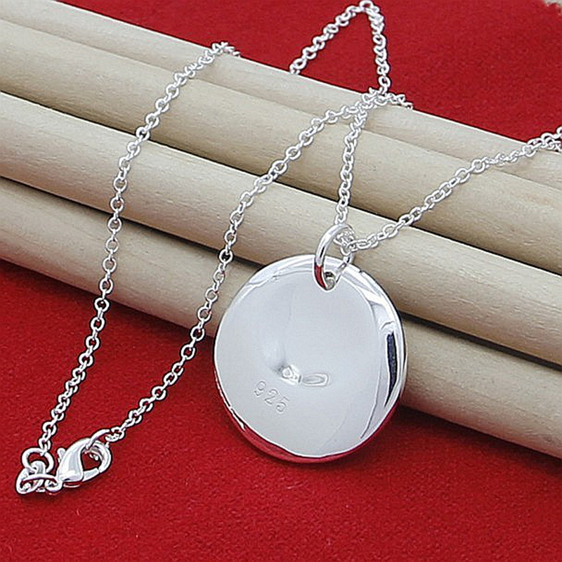 Wholesale Price 925 Sterling Silver Round Charm Pendant Necklaces For Women New Fashion Jewelry Chokers Necklaces image