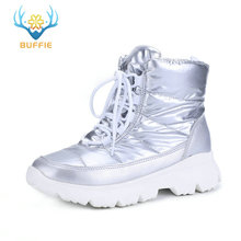 Купить с кэшбэком 2019 silver new women boots winter warm snow boots low upper non-slip white outsole 50% natural wool lace up free shipping sell