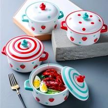 Nordic ceramiczna salaterka z uchwytem pokrywka śniadanie zboże miska na owoce kolor deser zupa miska na makaron kuchenka mikrofalowa specjalne tanie tanio SumParvenu Pojedyncze Miski Ekologiczne Floral