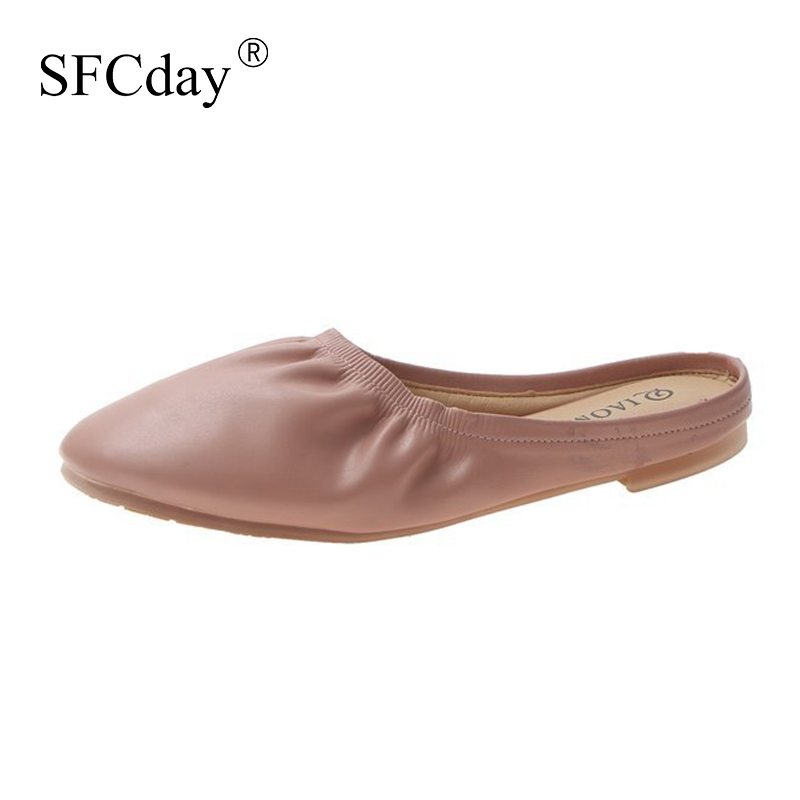 New 2020 Women Ballet Flat Autumn Pleated Slip on Ladies Fashion Soft Casual Shoes Leather Female Comfortable Footwear