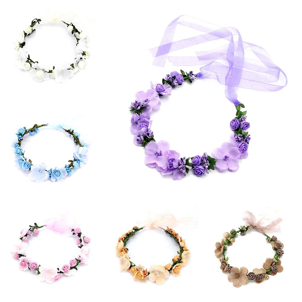 Women Head Wreath For Girls Hair Headband Flower Crown Seaside Holiday Flower Garland Forehead Hair Accessories Headdress Band