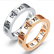 Europe&American Brand Roman Numerals Rings For Women Wedding Jewelry Stainless Steel With Cubic Tail Rings All Year Lover Rings(China)