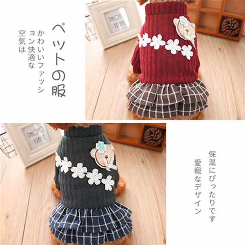 겨울 개 옷 거미 곰 꽃 두꺼운 애완 동물 복장 작은 개를위한 따뜻한 옷 치마 강아지 스웨터 개 애완 동물 드레스