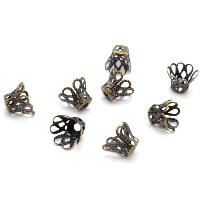MIAOCHI Jewelry DIY Vintage filigrana Metal Cup hueco flor espaciador cuentas topes para extremos colgante DIY dijes conectores encontrar joyas