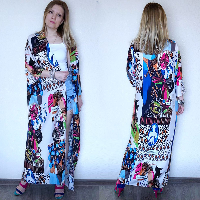 H0ddce4af067a4f4da25807a9131ef7247 - Bohemian Printed Half Sleeve Summer Beach Wear Long Kimono Cardigan Cotton Tunic Women Tops Blouse Shirt Sarong plage N796