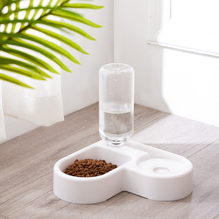New Corner Pet Dog Bowl Small And Medium Dog Cat Bowl Automatic Cat Water Dispenser Pet Supplies Plastic Double Bowl