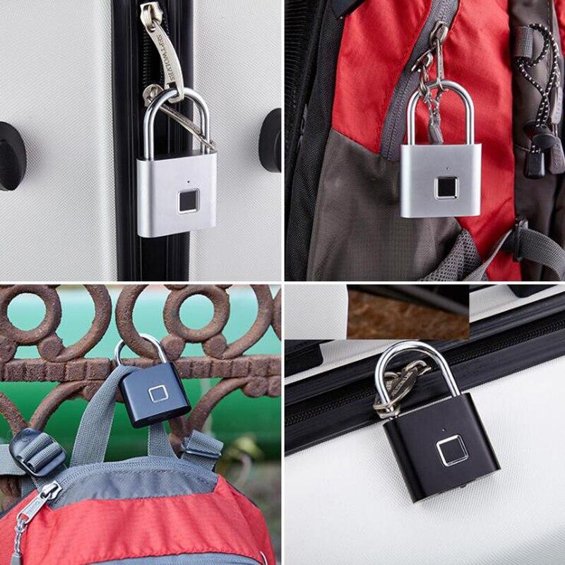 Best DealΣSmart-Padlock Fingerprint Security Waterproof USB Black Zinc-Alloy Colour Rechargeable