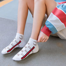 white socks striped calcetines harajuku skarpetki damskie chaussette femme mujer women cute sock slippers woman designer cotton