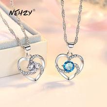 NEHZY-collar con colgante de corazón hueco de circonita de cristal para mujer, joyería de plata de ley 925, 45CM de longitud