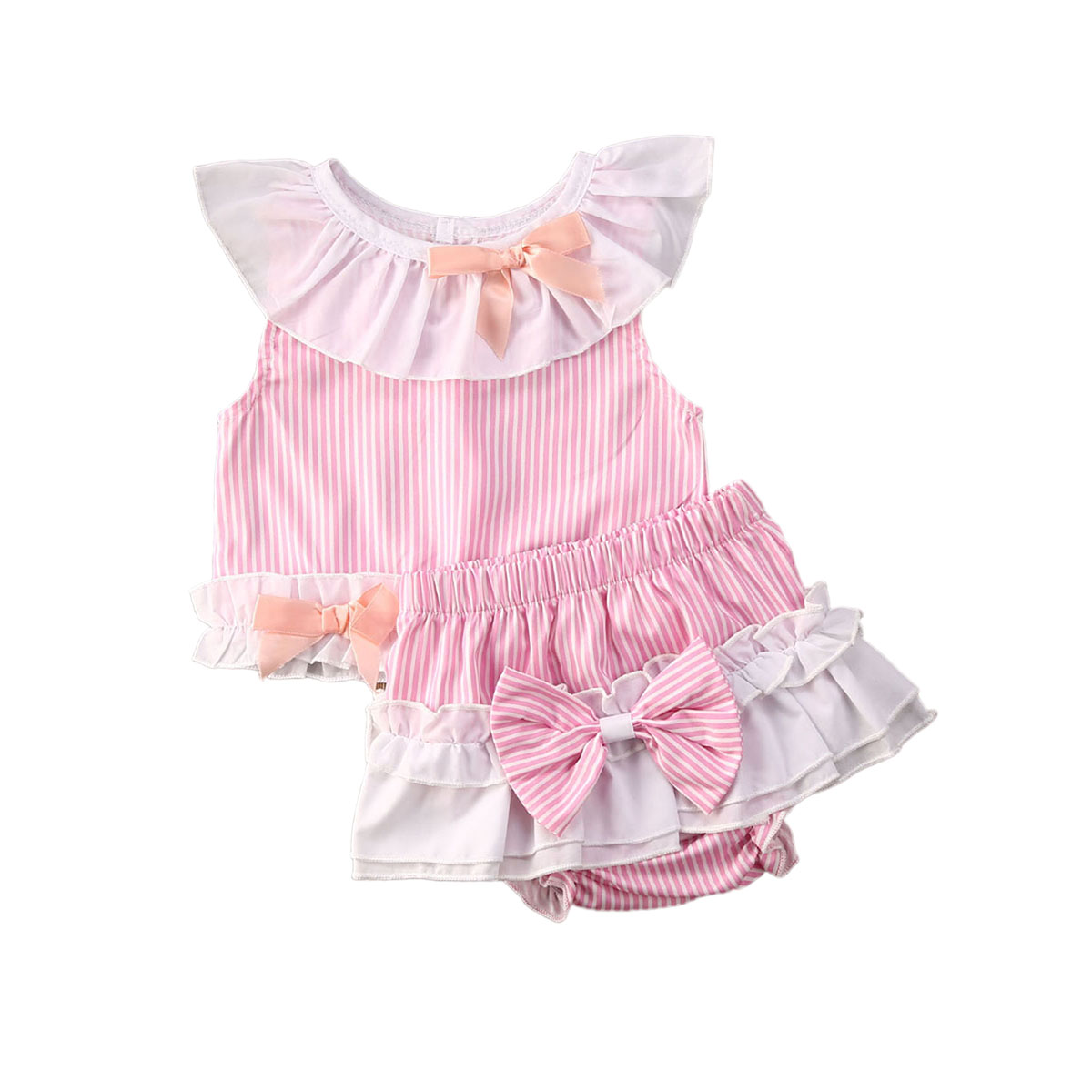 Newborn Infant Baby Girls Princess Summer Bow Short Sleeve T Shirts Tops+Shorts 2pcs Set 0-24M