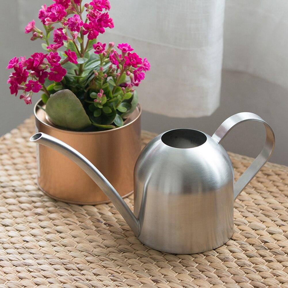 Pot d'arrosage en acier inoxydable   Petit Pot de jardinage, utilisation poignée parfait pour l'arrosage des plantes florales, douche pour le jardin