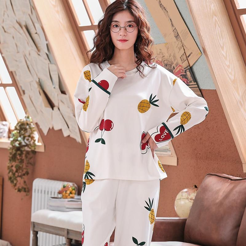 Feier Autumn New Cotton Printing Lapel Top + Long Pant 2 Piece Sets Pajamas Set For Women Cute Sleepwear Girls Pyjama