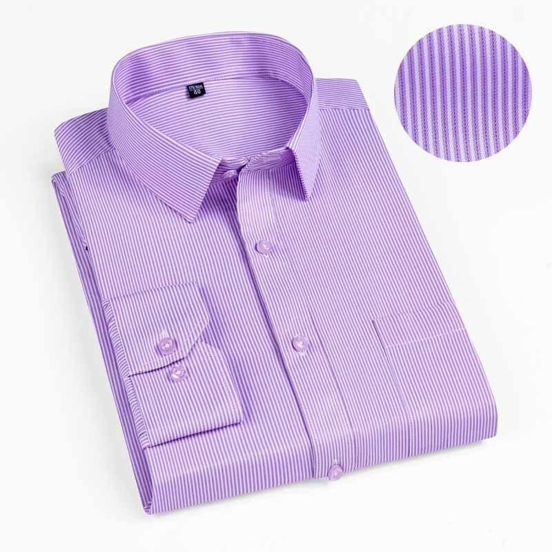 New 2019 Autumn Men Shirt Plus Size Slim Fit 45% Cotton Plaid Men Dress Shirts Regular Long Sleeve Men's Business Casual Shirt 11