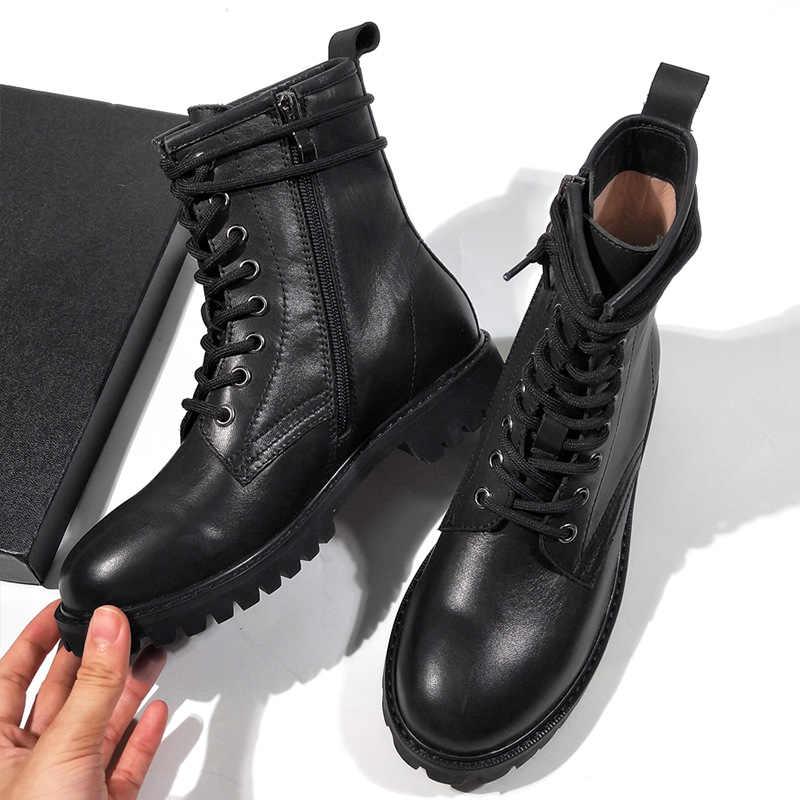 Donn-2019 yeni sonbahar kış ayakkabı kadın hakiki deri ve kürk doğal sıcak Martin çizmeler kadın dantel kadar platform ile siyah