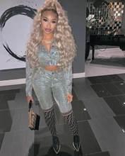 Felyn 2020 ins internet celebridade famoso 2 peças conjunto feminino sólido brilhante turn-down colarinho blusa sólida longa calça sexy festa outfit