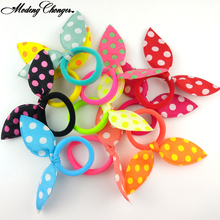 10Pcs Cute Polka Dot Bow Kids Rabbit Ears Hair Band Hair Tie Headband Girl Scrunchy Children Ponytail Headwear Hair Accessories купить недорого в Москве