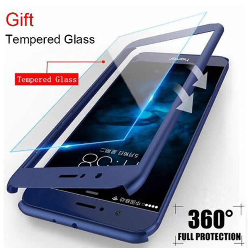 360 Degree TPU Tempered Glass Full Cover PC Front+Back Shell For Honor 7x 8 Xmax 9 9i 9x 10 20 Lite Pro V8 V9 Play V10 V20 Case
