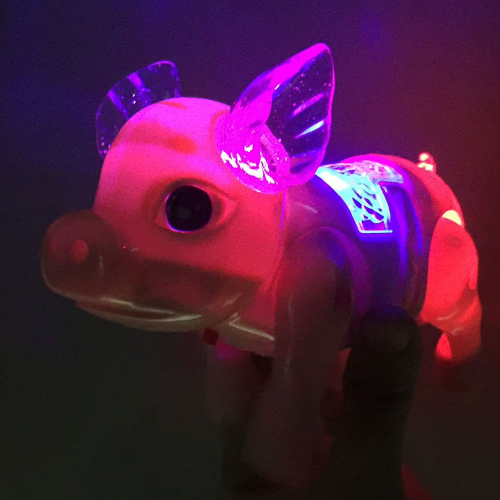 Glow Pet Toy Plastic Flashing Educational Musical Unique Interactive Led Electronic Walking Pig With Rope Development Funny