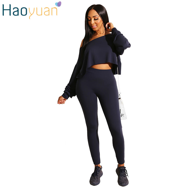 HAOYUAN Sexy Womens Sets One Shoulder Irregular Crop Tops And Pants Matching Sets Streetwear Fashion Casual 2 Piece Outfits Set