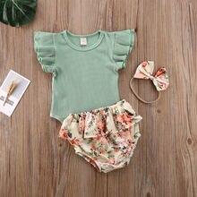 3 шт детский ребристый комбинезон с коротким рукавом и цветочным