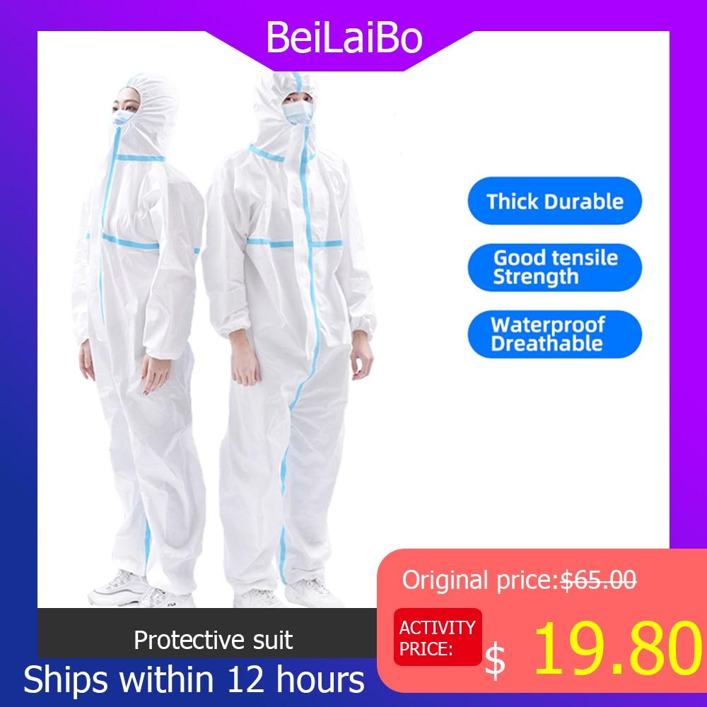 PPE Hazmat Suit Protective Clothing Suit Meltblown High Antibacterial Reusable Plastic Closures Isolation Outfit Suit Prove