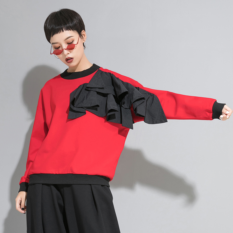 [EAM] Women Loose Fit Mesh Ruffle Spliced Big Size T-shirt New Round Neck Long Sleeve Fashion Tide Spring Autumn 2020 1A937 2