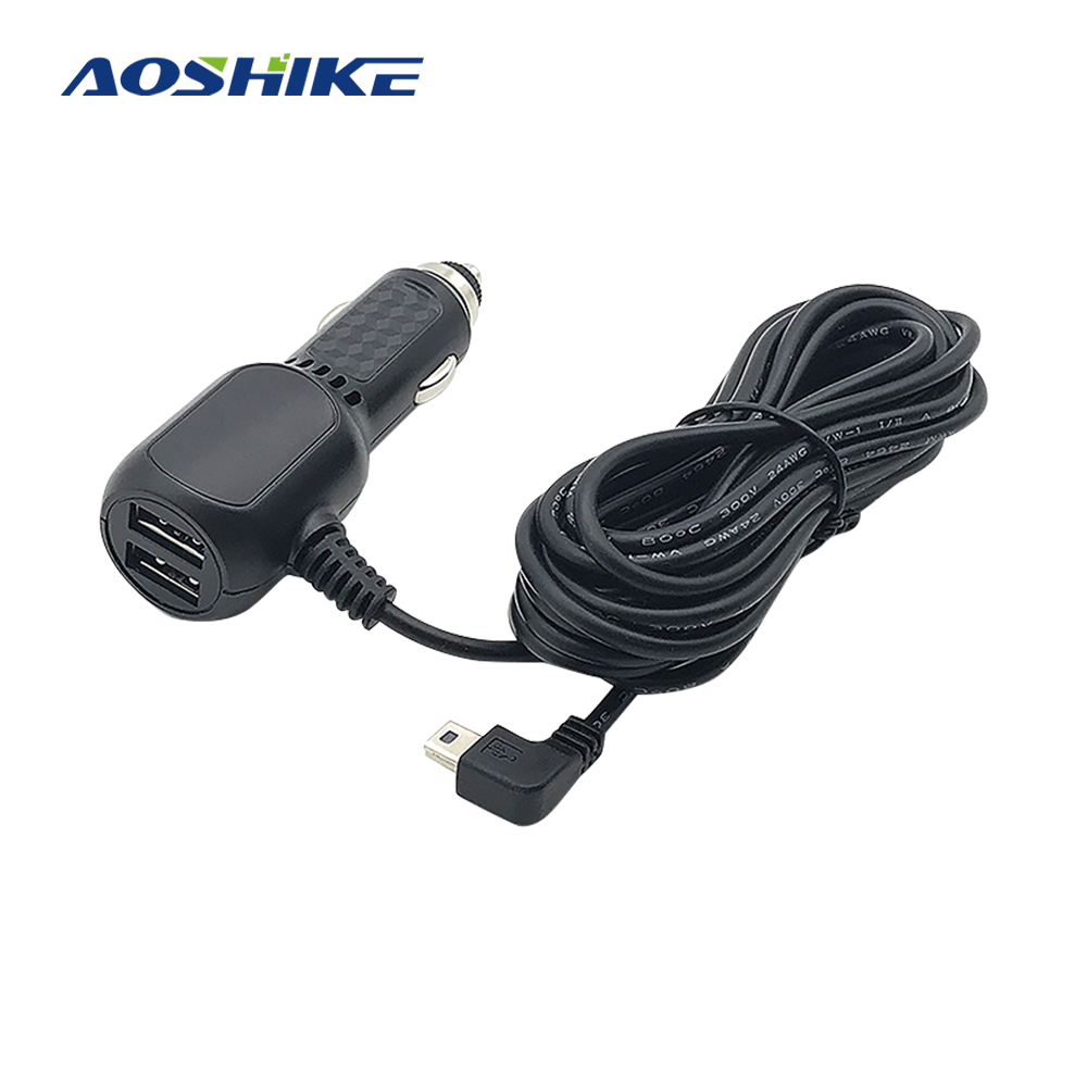 AOSHIKE Mini USB Smart Charger 5V 2A 3.5m Car Power Charger Adapter Cable Cord For Navigator GPS Driving Recorder Car Charger