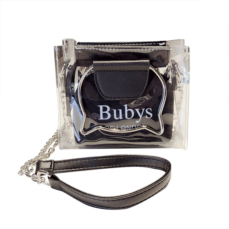 Shoulder new bag women 39 s 2019 New style ins Super fire Korean style hand versatile chain bucket transparent in Top Handle Bags from Luggage amp Bags