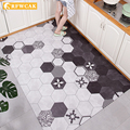 Nordic PVC Rectangular Non-slip Anti-fouling Kitchen Floor Mats Household Door Mats Oil-proof Artificial Leather Antifall Carpet