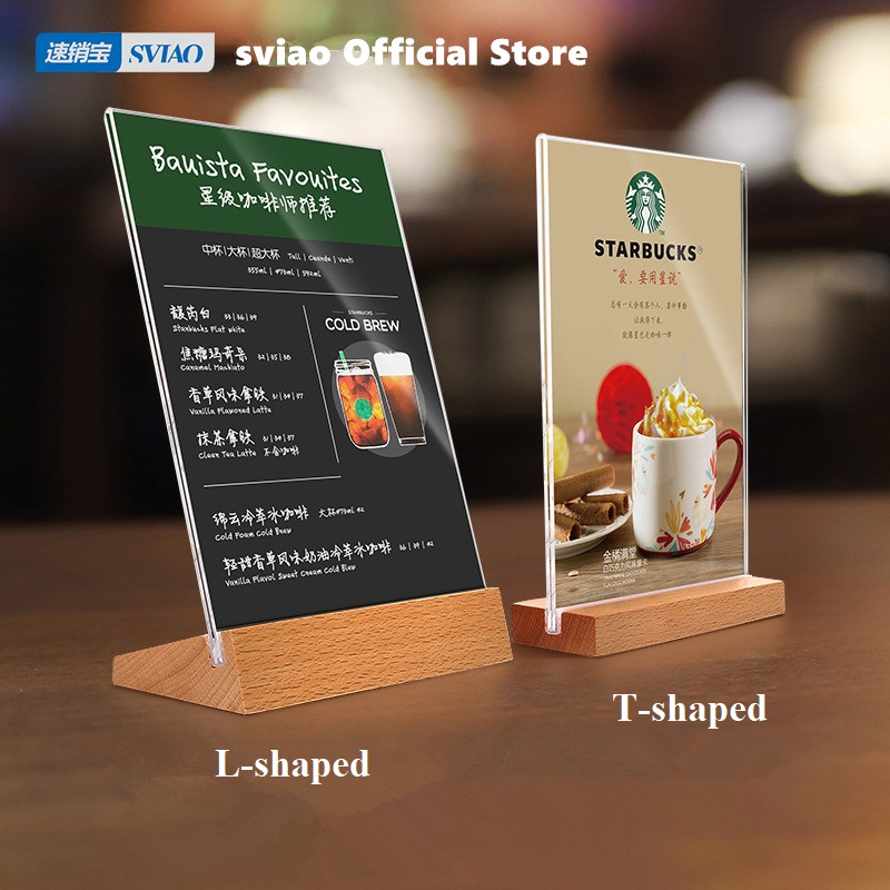 Sviao L T Shaped Sign Holder With Wood Base A4 A5 A6 Table Menu Holder