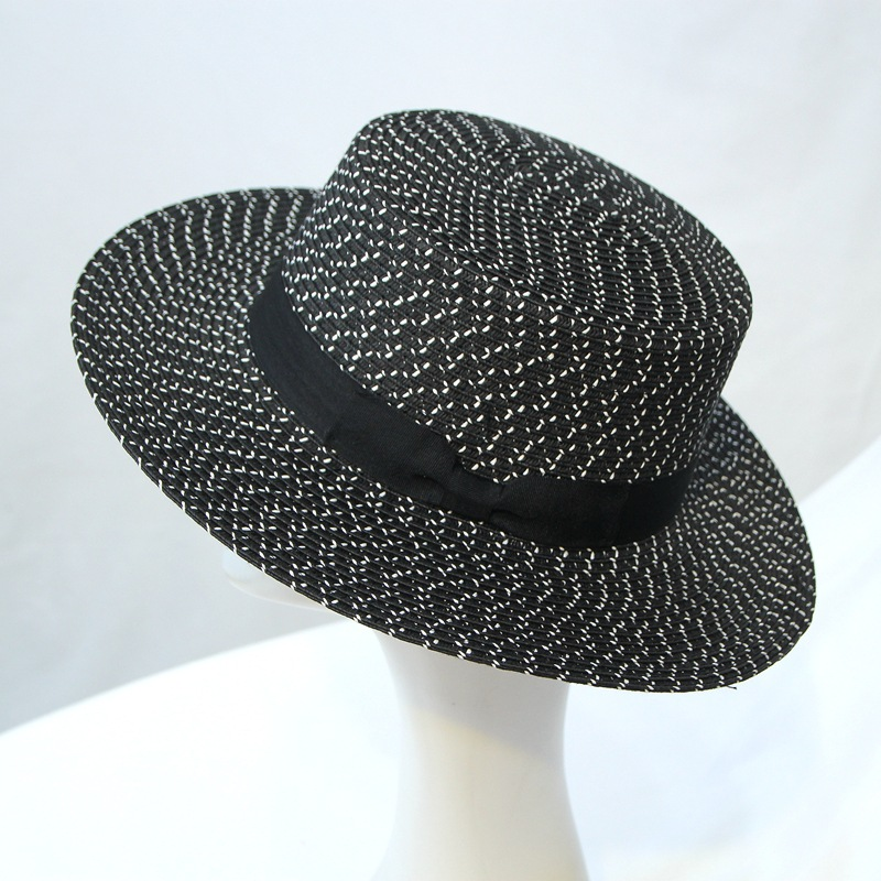 Little Vanilla Hat Female Summer Korean Black-and-White Hollowed-out Beach Hat Travel Sunscreen Sunshade Cap