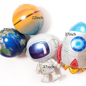 Image 2 - 37inch Outer Space Party Astronaut balloon Rocket Foil Balloons Galaxy Theme Party Boy Kids Birthday Party Decor Helium Globos
