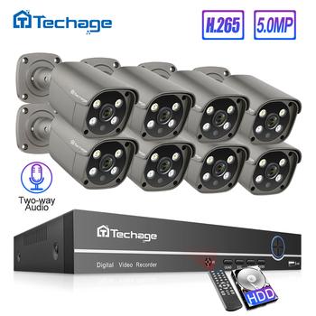 Techage H 265 8CH 5MP HD poe nvr zestaw system bezpieczeństwa cctv dwukierunkowy Audio AI kamera IP zewnętrzny zestaw nadzoru wideo P2P 3TB HDD tanie i dobre opinie 605G-AI-50 4 SZTUK 6 SZTUK 8 sztuk Ntsc 20 m 8 kanał 2592*1944 VGA HDMI IP66 Outdoor water-resistant 3 6mm default 90°