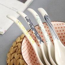 Керамическая ложка в японском стиле, кухня, кухонная утварь, суповая ложка для кухни, посуда для дома, ложка с длинной ручкой